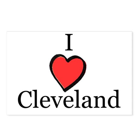 I Love Cleveland, Ohio Heart Postcards (Package o