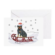 Sledding Rottweiler Greeting Card