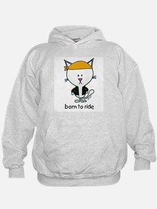"""born to ride"" biker cat Hoodie"