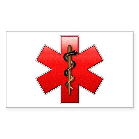 Star of Life(Red) Rectangle Sticker