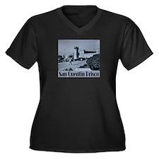 San Quentin Women's Plus Size V-Neck Dark T-Shirt