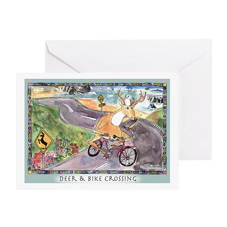 Deer & Bike Crossing Greeting Card