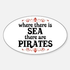 There are Pirates Oval Decal