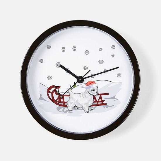 Sledding Westie Wall Clock