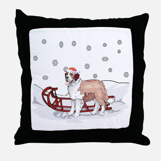 Sledding St Bernard Throw Pillow