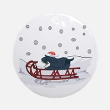 Sledding Scottie Ornament (Round)