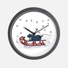 Sledding Scottie Wall Clock