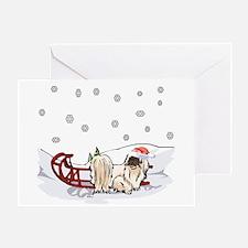 Sledding Pekingese Greeting Card