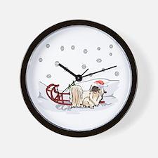 Sledding Pekingese Wall Clock