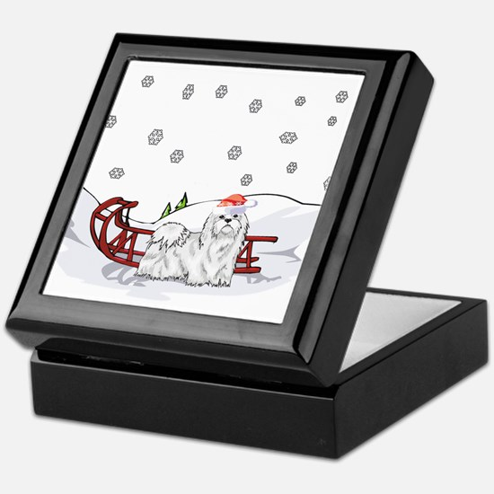 Sledding Maltese Keepsake Box