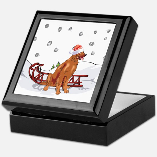 Sledding Irish Setter Keepsake Box