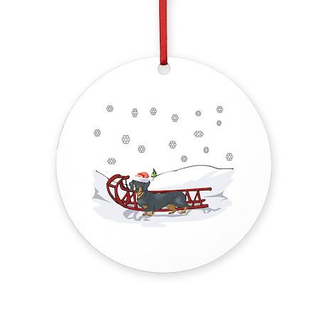 Sledding Dachshund Ornament (Round)
