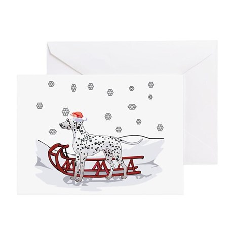 Sledding Dalmatian Greeting Card