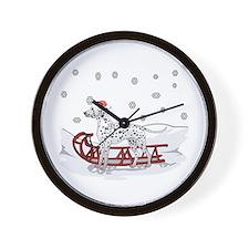 Sledding Dalmatian Wall Clock