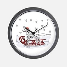 Sledding Dalmatian Wall Clock