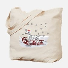Sledding Dalmatian Tote Bag