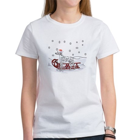 Sledding Dalmatian Women's T-Shirt