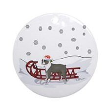 Sledding Boston Terrier Ornament (Round)