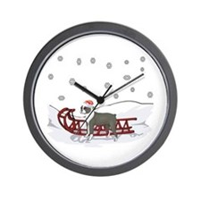 Sledding Boston Terrier Wall Clock