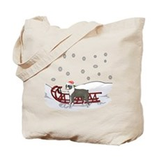 Sledding Boston Terrier Tote Bag