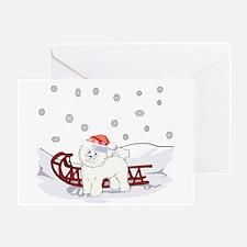 Sledding Bichon Frise Greeting Card