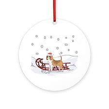 Sledding Beagle Ornament (Round)