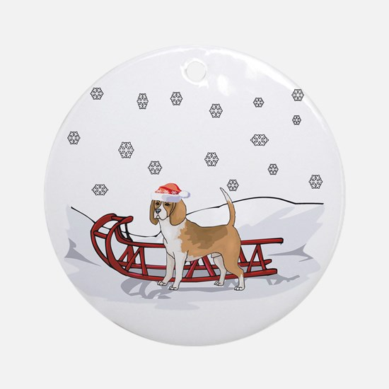Sledding Beagle Ornament (Round)