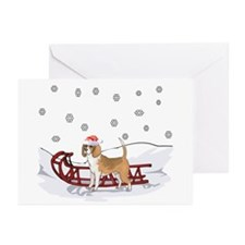 Sledding Beagle Greeting Cards (Pk of 10)