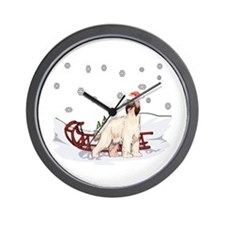 Sledding Afghan Hound Wall Clock
