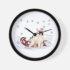 Sledding Afghan Hound Wall Clock