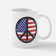 Peace Sign American Flag Mug