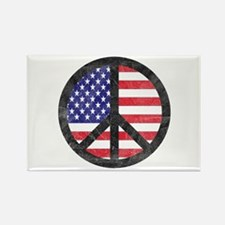 Peace Sign American Flag Rectangle Magnet