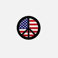 Peace Sign American Flag Mini Button