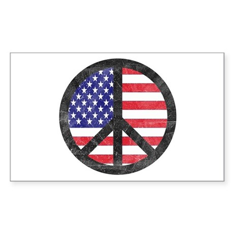 Peace Sign American Flag Rectangle Sticker