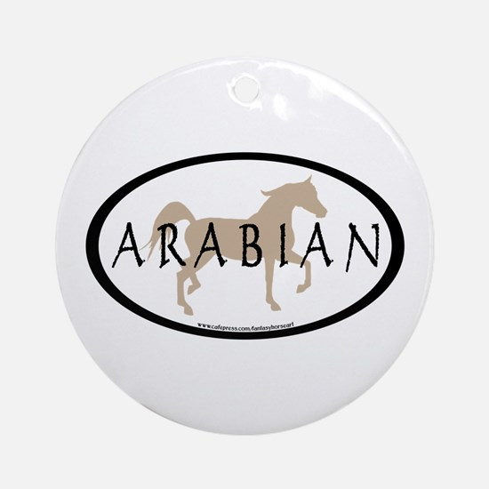 Arabian Horse Text & Oval (tan) Ornament (Round)