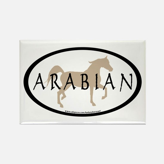 Arabian Horse Text & Oval (tan) Rectangle Magnet