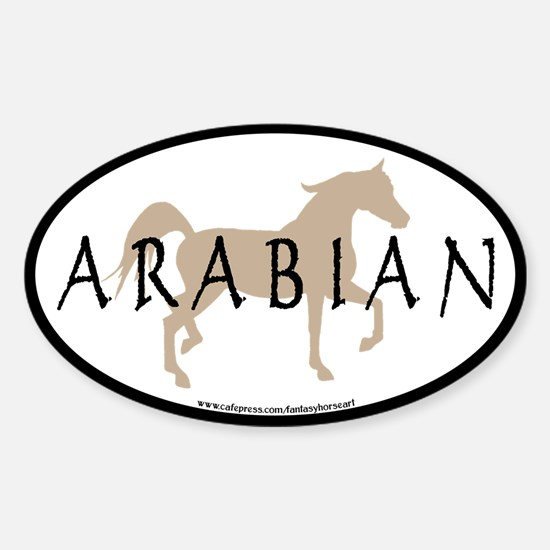 Arabian Horse Text & Oval (tan) Oval Decal