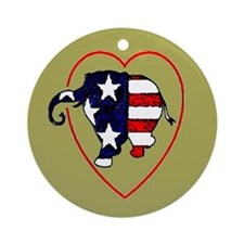 I Heart (Love) Republican Ele Ornament (Round)