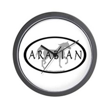 Arabian Horse Text & Oval (grey) Wall Clock