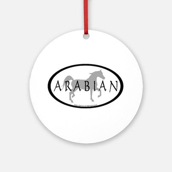 Arabian Horse Text & Oval (grey) Ornament (Round)