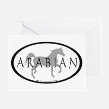Arabian Horse Text & Oval (grey) Greeting Card