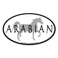 Arabian Horse Text & Oval (grey) Oval Decal