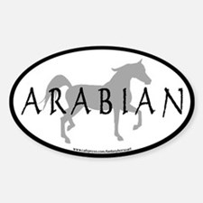 Arabian Horse Text & Oval (grey) Oval Decal