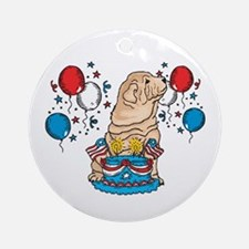 4th of July Shar Pei Ornament (Round)