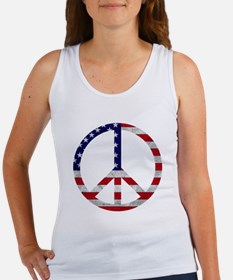 American Flag Peace Sign Women's Tank Top
