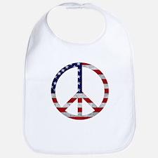 American Flag Peace Sign Bib