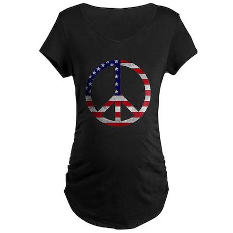 American Flag Peace Sign Maternity Dark T-Shirt