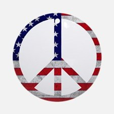 American Flag Peace Sign Ornament (Round)