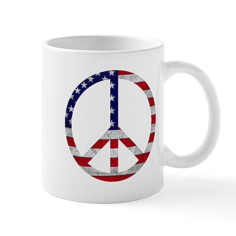 American Flag Peace Sign Mug