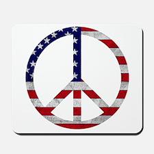 American Flag Peace Sign Mousepad